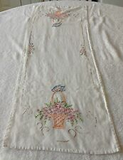 Vintage Embroidered Table Runner With Baskets Of Flowers Design
