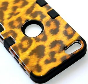 iPod Touch 5th 6th 7th Gen - HARD&SOFT RUBBER HYBRID CASE BROWN LEOPARD CHEETAH