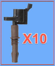 10 Ignition Coils For FORD F53 F250 F350 F450 F550 F650 SD 6.8L V10 Brown Boots