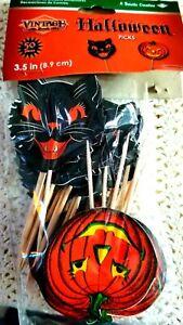 50 BEISTLE VINTAGE STYLE HALLOWEEN TOOTHPICKS! BLACK CAT & JOL PUMPKIN 🎃 FACES!