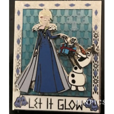 Disney Pin 124972 Let It Glow Elsa Olaf Frozen Snowman Snowflakes Diamonds Blue