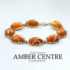 GERMAN ANTIQUE BUTTERSCOTCH BALTIC AMBER IN 9CT GOLD BRACELET GBR089 RRP£2500!!