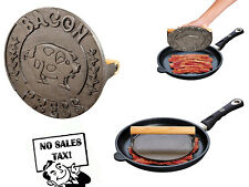 Bacon Flat Press and Steak Weight Heavyweight Cast Iron with Wooden Handle Round