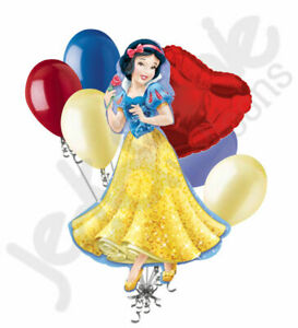 7 pc Disney Princess Snow White Balloon Bouquet Birthday Movie Seven Dwarfs