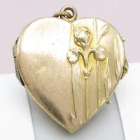 Vtg Antique Art Nouveau Iris Flower Repousse Heart Gold Plated Locket Pendant