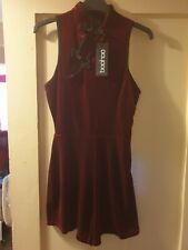 Boohoo red oriental velvet playsuit Size 10 New with Tags