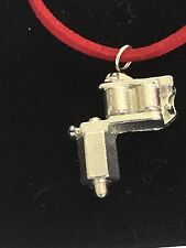 """Tattoo Gun TG55 Fine English Pewter On 18"""" Red Cord Necklace"""