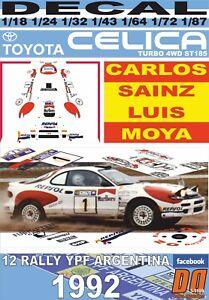 DECAL TOYOTA CELICA TURBO 4WD ST185 C.SAINZ R.ARGENTINA 1992 2nd (06)