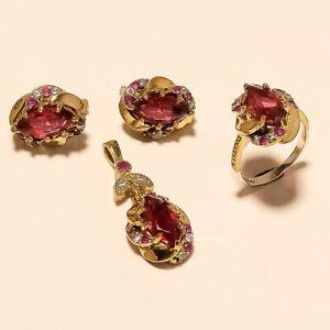Russian Pink Zircon Turkish Ring Earring Pendant 925 Sterling Silver Jewelry Set