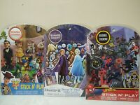 Lot Of 3 Stick N' Play Reusable Stickers Frozen Toy Story Spiderman