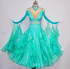 Women Ballroom Competition Dance Dress Green Pleated Waltz Smooth Dance Gown HOT