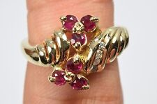 Women's Luxury Ruby & Diamond .68 ct High Quality Cluster Ring G-SI2 Sizable 6