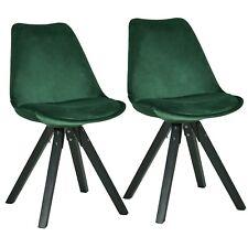 Stuhl Esszimmerstuhl Küchenstuhl 2er Set Grün Holz Beine Stoff Samt