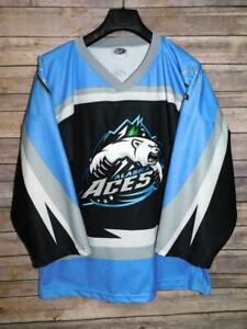 Alaska Aces M Adult Hockey Jersey Black Blue Stitched Polar Bear Logo Shirt OT