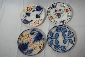 ANTIQUE GAUDY WELSH DUTCH CUP PLATES LOT OF 4 FLOW BLUE PEARLIZED STAFFORDSHIRE