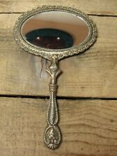 Vintage Small Oval Cast Metal 2 Sided Hand Mirror