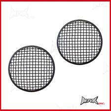5 3/4 INCH Matte Black Mesh Metal Headlight Stone Gaurd Covers / Inserts - Pair