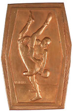 Sports WRESTLING unfinshed bronze plaquette 55mm x 82mm