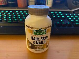 Botanic Choice Hair, Skin & Nails Formula, 60 Capsules Mfg 8/2020 5000 Mcg