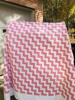 BEAUTIFUL Vintage Zig Zag Quilt Handmade Red White 100x80