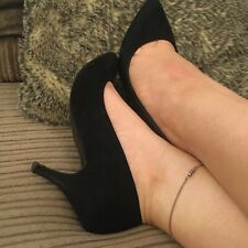 Well Worn Pointed Stiletto Heels Black Secretary Office Size 4