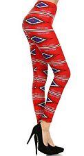 J&K Stretch Women's Aztec Red Cowgirl western leggings pants