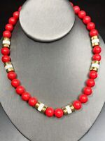 """Vintage Signed Napier  necklace Round Red White Gold Lucite beads 16"""" Long"""