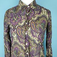 J. CREW The Perfect Shirt Paisley Print Silk Cotton Button Blouse Womens Size 4
