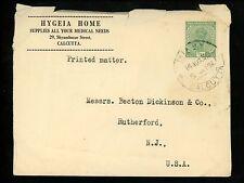 Postal History India Scott #107 Advertising Medical 1930 Calcutta Rutherford NJ
