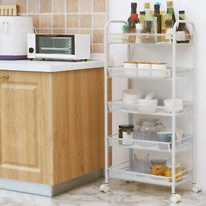 5 Tiers Storage Cart Bedroom Bathroom Kitchen Shelf Metal Rolling Trolley Cart