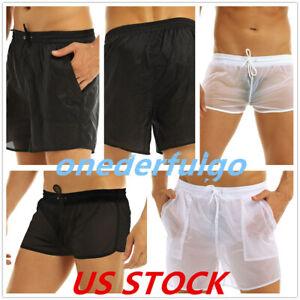 US Sexy Men See-through Boxer Briefs Swimwear Trunks Shorts Swimsuit Short Pants