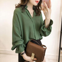 Loose V Neck Blouse Womens Puff Long Sleeve Tops Casual Slim Shirts Loose BlouDS