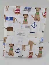 Pottery Barn Kids Salty Dog Anchor Sheet Set Full White Multi #8312