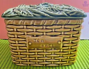 English Majolica-Sylvac-#5038-Tea Bags Basket w/ Leaf Lid-Pottery-Vintage