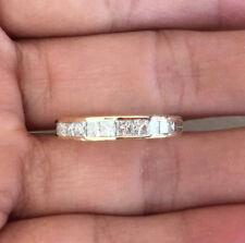 14k Gold 3/4ct Natural Princess Cut Channel Set Diamond Wedding Band Ring Guard