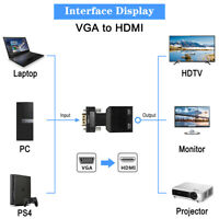 VGA to HDMI Audio Converter Adapter Male to Female for TV/Computer/Projector