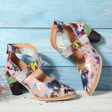 SOCOFY Women's Summer Bohemia Genuine Leather Shoes Flowers Pattern Sandals /