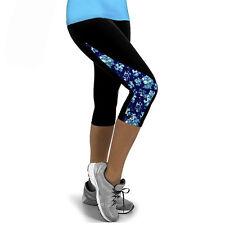 Womens Yoga Fitness Leggings Running Gym Sports Cropped 3/4 Capri Pants Trousers