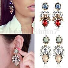 Fashion Korea Women Crystal Gemstone Dangle Rhinestone Drop Ear Studs Earrings
