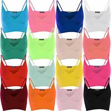 New Womens Bra Strap Crop Top Wrap Bralet Tops 8-14