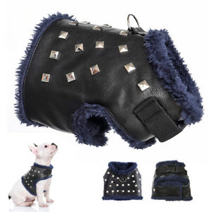 Studded Dog Vest Harness Small Puppy Cat Fleece Walking Jacket Winter Clothes