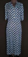 RARE  VINTAGE EARLY 1950'S SHEER COTTON DARK BLUE PRINT DRESS SIZE 10+