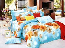 Sunny Blue Daisy 100% Cotton Bedding Set:1 Duvet Cover 2 Pillow Shams Queen/King