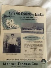 Vintage 1960s Lake Erie Charter Wan-El Marine Transit Fishing Boat Pamphlet Lot