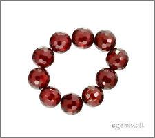 8pc Cubic Zirconia Round Beads 8mm Garnet Red #64163