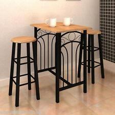 Petit déjeuner Dîner Table de salle à manger en bois de Tan 2 chaises meuble