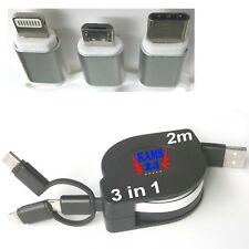 2m USB 2.0 Typ-C Micro USB Adapter Ladekabel Datenkabel Verbindungskabel schwarz