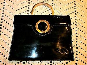 Genuine Patent Leather Black Hand Bag