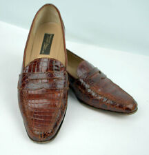 Sesto Meucci Crocodile Brown Leather Loafers 8 Narrow Woman's Shoe