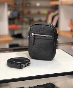 MCM Mini Tivitat Crossbody Belt Bag Black Monogram Leather New $595+ Tax